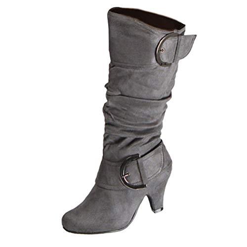 Damen Stiefel High Heels Klassische Stiefel mit Blockabsatz Profilsohle Elegant Winterstiefel mit Schnalle Grau 39 EU
