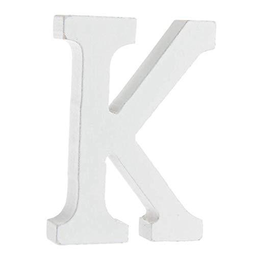 BIGBOBA Holz Buchstaben A-Z Retro DIY Dekoration für Home Coffee Shop Kleidung Store Geburtstag Party Hochzeit Weiß, Höhe 8 cm, K