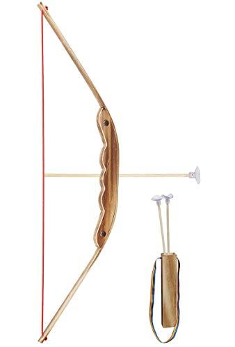 Gerileo Arco de Madera y bambú de Juguete con Porta Flechas para niños/niñas - Juguete para Entrenar puntería