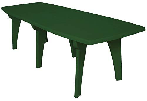 SF SAVINO FILIPPO Tavolo tavolino Rettangolare 250x90 Lipari in Dura Resina di plastica Verde con Foro per ombrellone per Esterno casa Balcone Bar sagra da Giardino