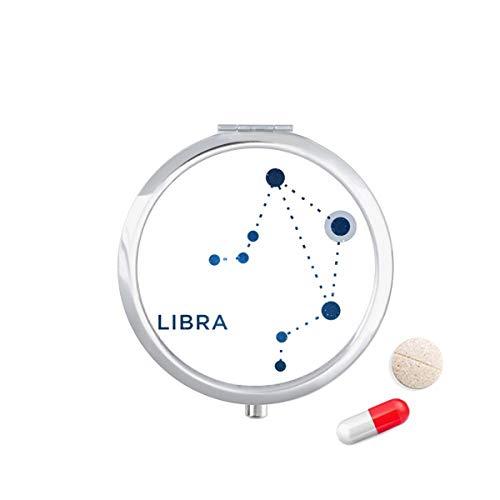 DIYthinker Weegschaal sterrenbeeld sterrenbeeld Zodiac Travel Pocket Pill Case Medicine Drug Opbergdoos Dispenser Spiegel Gift
