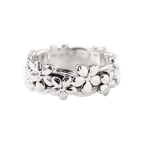 chaosong shop Anillo floral para mujer, diseño de flor de cerezo, aniversario, compromiso, boda, regalo de joyería