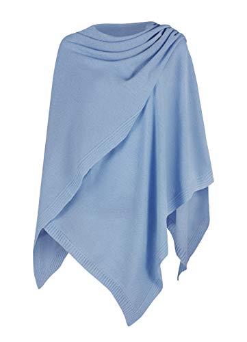 Mikos* Damen Poncho Strick Strickpullover Eleganter Pulli Long Mantel Herbst Winter Viele Farben Eine Größe (991) (Jeans)
