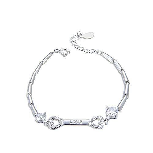 1 pulsera de hombre con circonita de diamante en forma de corazón de minimalismo extensor cadena de plata para las mujeres