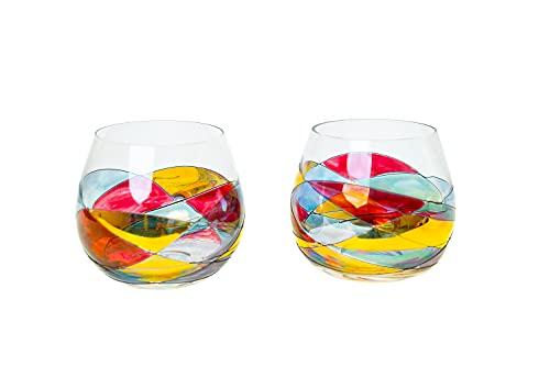 ANTONI BARCELONA Stemless Balloon Wine Glasses Set of 2 (21.5 Oz) - Handblown & Handmade, Painted Red Wine Glass, Gifts for Women, Birthdays, Anniversaries, and Weddings - 2 Unit