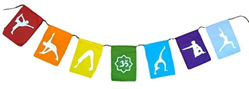 KERALA Banderines en algodón, rectangulares con posturas de Yoga. Tamaño 130 X 20 X 15 cm.