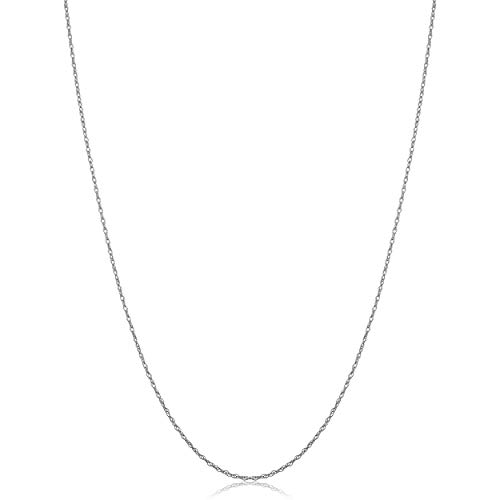 Solid 14k White Gold Rope Chain Necklace (0.7 mm, 18 inch)