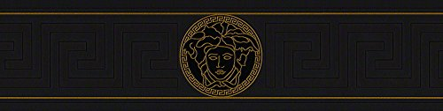 Versace wallpaper Vliestapete Greek Luxustapete geometrisch grafisch 5,00 m x 0,13 m metallic schwarz Made in Germany 935224 93522-4