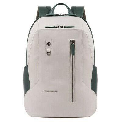 PIQUADRO Zaino CA4980S104/GRVE Grande Porta PC 15,6' Colore grigio e verde linea HAKONE 32.5x42x17 cm tasca per Connequ