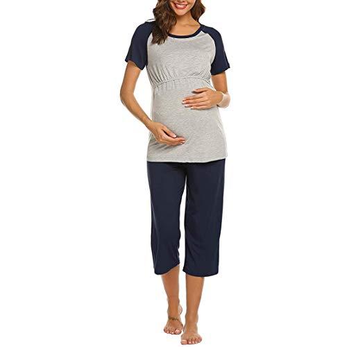 Pijama Premama Lactancia Verano,Ropa de Dormir Embarazada Maternidad Hospital Manga Corta Top y...