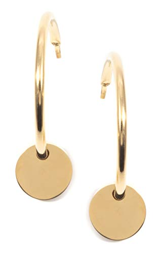Happiness Boutique Damen Kreis Creolen mit Anhängern in Goldfarbe | Runde Ohrringe mit Plättchen Edelstahlschmuck