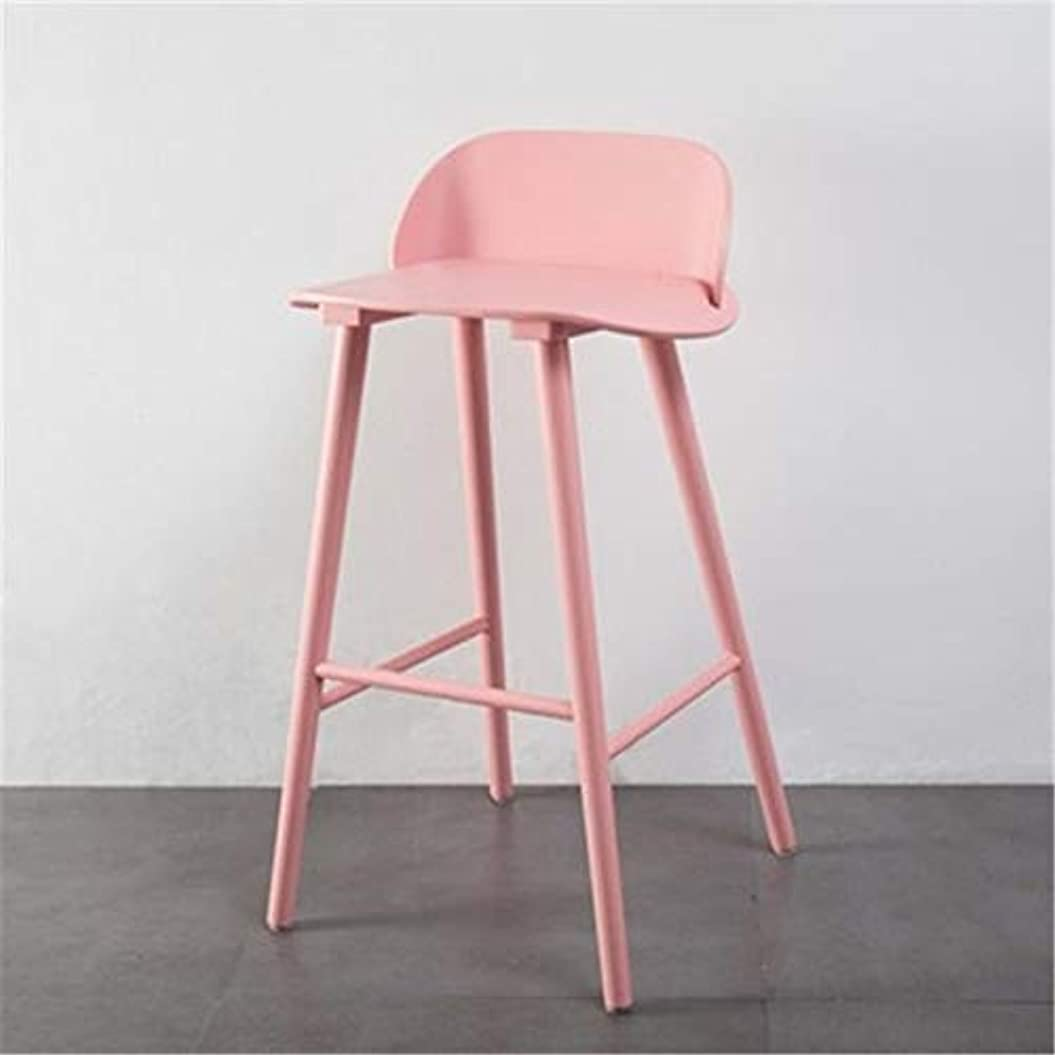木材飛行場悪意Hyx Nordicモダンミニマリストファッション錬鉄製のバーテーブルと椅子 (色 : ピンク)