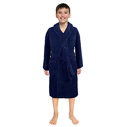 BaZhaHei Peignoirs Serviette Nuit Garçons Filles Couleur Unie Pyjama de Nuit Robe de Nuit pour Enfant 3-12 Ans Hiver Vêtements de Nuit(9-12 Ans,Marine)