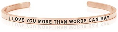 Daniel Sword Damen Message Armband Armreif Anna I LOVE YOU MOR THAN WORDS CAN SEY - steel – Rosefarben, One size 3161