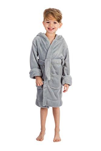 Elowel | kinderen (jongens en meisjes) | badjas | ochtendjas | huisjas | fleece - pluizig | 100% polyester | met capuchon en riem | maten: 92-164 | kleuren: groen, blauw, zwart, wit, roze, rood