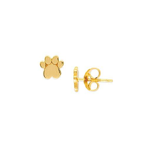 Pendientes de oro amarillo de 14 quilates con forma de corazón y animal para mascotas y perro,...