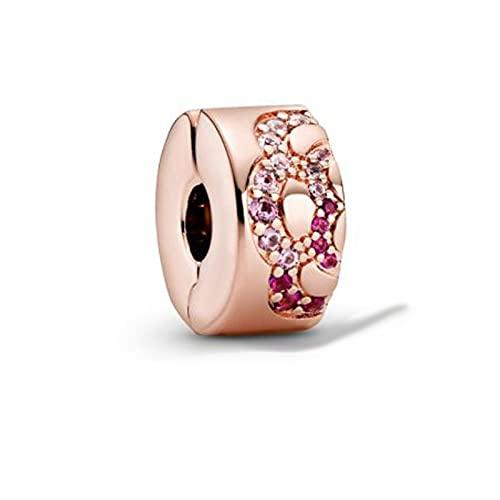 925 Colgante De Plata Rosa Rosa Patrón De Abanico Espaciador Clip Original Pandora Charms Pulsera Para Mujer Joyería Regalo De Navidad Para Novia