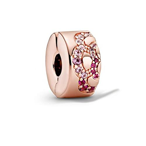 925 Plata Pandora China Exclusivo Rosa Rosa Patrón De Abanico Clip Espaciador Pulsera Original Para Mujeres Diy Joyería De Lujo Para Mujeres