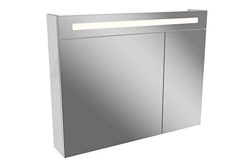 FACKELMANN Spiegelschrank LINO/Badschrank mit Soft-Close/Maße (B x H x T): ca. 90 x 71 x 16,5 cm/Schrank mit Spiegel und LED-Beleuchtung / 2 Türen/Türen innen verspiegelt/Korpus: Weiß