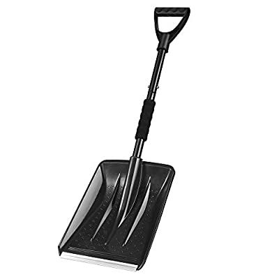 IPSXP Snow Shovel,Detachable Plastic Emergency Snow Shovel (31.5in/80cm) with Stainless Steel Pole and Aluminum Edged Wide Blade Shovel, Perfect for Car Driveway, Camping and Outdoor Emergency (Black)