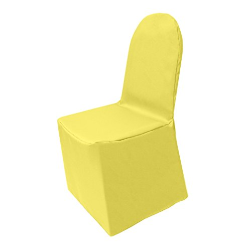 Ultimate Textile -2 Pack- Polyester Banquet Chair Cover - for Wedding or Party use, Lemon Yellow
