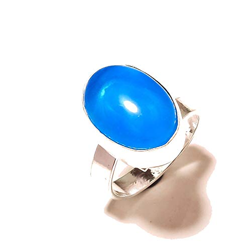 Shivi Blue Chalcedony! Ring Size 6 US (Sizeable), Gift for Wife! Sterling Silver Plated, Handmade! Jewelry from