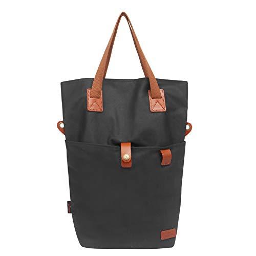 TOURBON Canvas Clip-On Quick-Release Bike Panniers Women's Shoulder Tote Bag (Black)