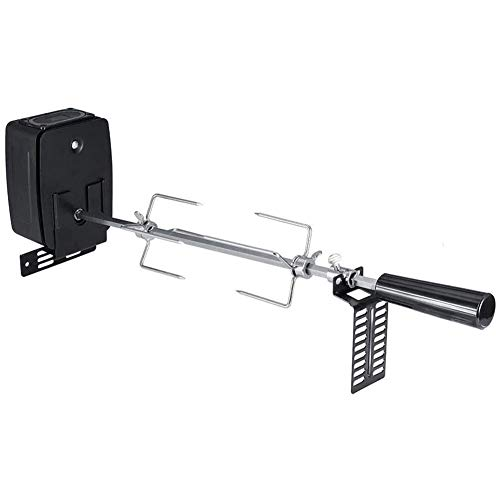 Zhenwo Rotisserie Kit, Universal Grill Replacement Rotisserie Kit for Barbecue Stainless Steel Spit Rod Meat Forks with Electric Motor,A