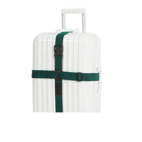 Geselecteerde hoge kwaliteit cross-casing banden, reizen in het buitenland geruite bagage Trolley case koffer riem, versterkte bagage riem Donker Groen