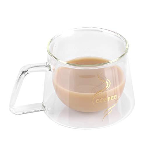 Tazas de café de cristal, Cristal Vidrio de Doble Pared, Doble Pared de Vidrio de Borosilicato Adecuado para Té, Café, Capuchino9.5 * 7cm
