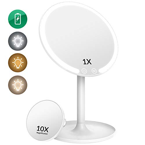 EASEHOLD Lighted Makeup Mirror Vanity Mirror with Lights Rechargeable 3 Color 42 LED Mirror Dimmable Pocket Magnification Mirror 90Rotation Cosmetic Beauty Portable Detachable Tabletop Mirror