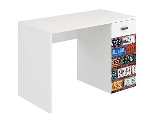 Amazon Marke -Movian Idro moderner geschwungener Schreibtisch, 55 x 110 x 73,5, Bedruckt