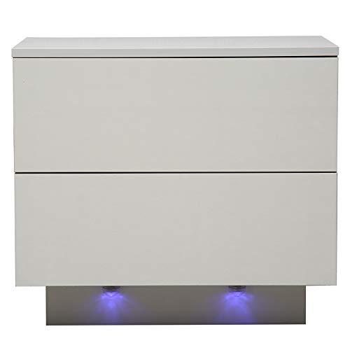 MorNon LED Nachtschrank Nachtkonsole Nachtkommode Nachttisch Hochglanz Beleuchtung - Nachttisch Schrank Schublade Ablage Schlafzimmer
