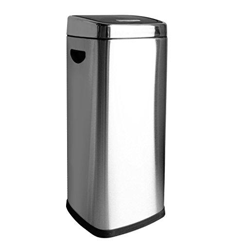 HAC24 30l Edelstahl Push Abfalleimer 30 Liter Mülleimer Druckdeckel Müllbehälter Küche