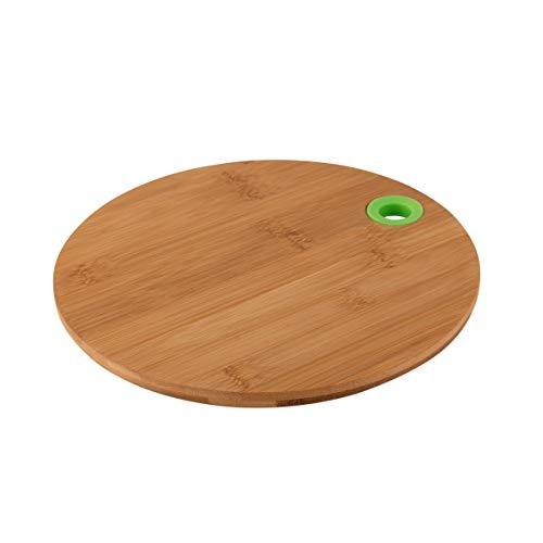 axentia Planche à Découper, Planche de Cuisine en Bambou avec Anneau en Silicone pour Accrocher, Ø env. 25 cm, Hauteur env. 1 cm, Couleur Bois / Vert