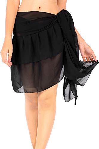 LA LEELA Bufanda para Cubrir la Cara Las Mujeres más el tamaño Pareo Cubierta del Traje de baño de hasta Pareo Negro_Z125 74.8''X19.69