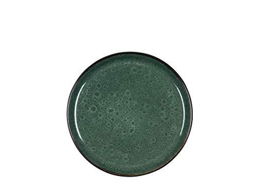 BITZ Teller, Kuchenteller, Dessertteller aus Steinzeug, 21 cm im Durchmesser, schwarz/grün