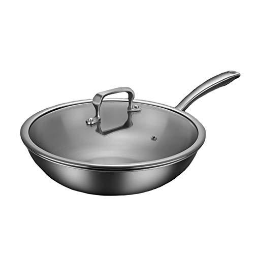 Pan leggera antiaderente, padella in titanio non patchiato a basso fumo domestico, conduzione a calore veloce, wok acido-base e anticorrosione,34cm