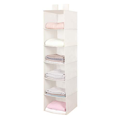 Hanging Closet Organizer, Space Saver, Hanging Storage Shelves with 2 Widen Straps, 6-Shelves Closet Hanging Sweater Organizer (Beige)