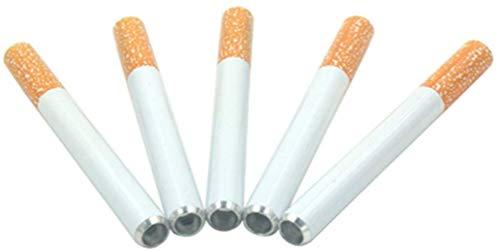 Price comparison product image 5 pcs 3 inch Alloy Cigarette Holder,  Cigarette Shape Design Five Pieces- Metal Hitter Cigarette Shaped Tobacco accessorie
