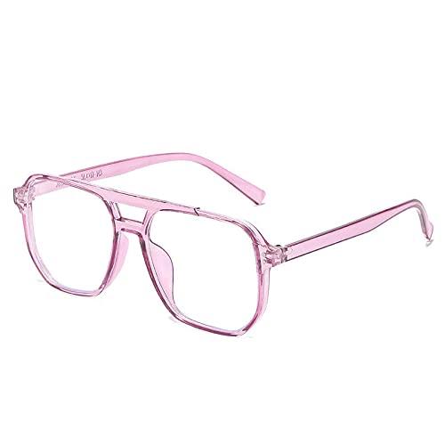 Powzz ornament Gafas de montura grande anti-luz azul, montura de gafas poligonales irregulares de doble haz, gafas de espejo planas de tendencia para hombre, morado-T