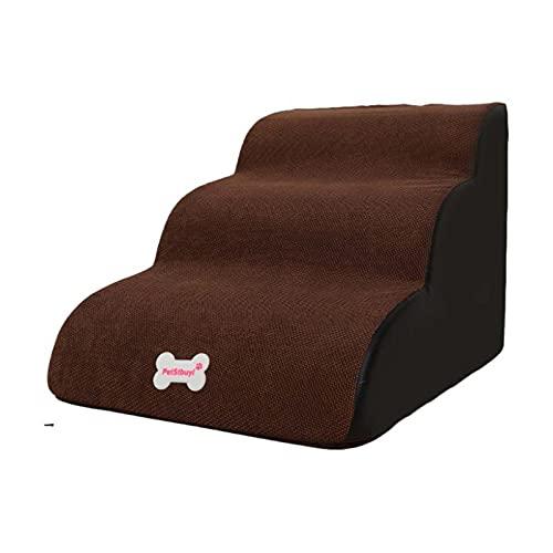 Sofá para perro de color marrón oscuro escalera de perro 3 pasos de espuma de alta densidad 40 x 60 x 40 cm escalera de mascota con cubierta extraíble rampa de asistencia para perros, lavable