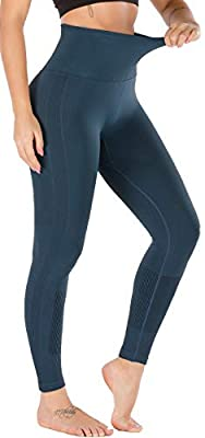 RUNNING GIRL 5 inches High Waist Yoga Leggings, Compression Workout Leggings for Women Yoga Pants Tummy Control(CK2392 Teal,L)