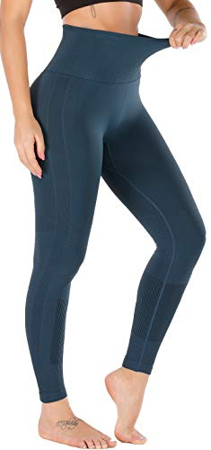 RUNNING GIRL 5 inches High Waist Yoga Leggings, Compression Workout Leggings for Women Yoga Pants Tummy Control (CK2392 Teal, M)