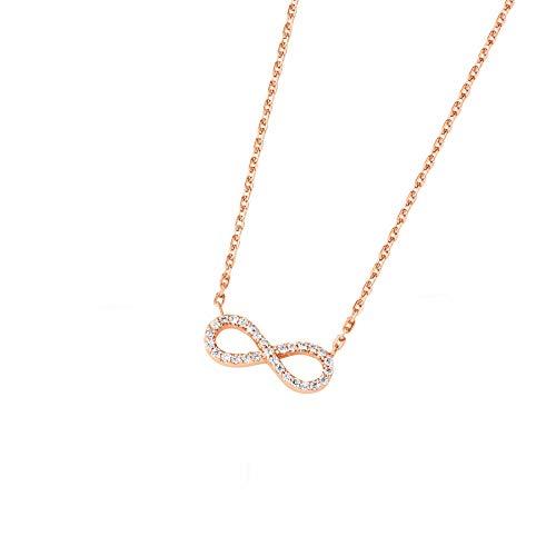 DOOSTI Collar con colgante de infinito de plata 925 chapada en oro rosa