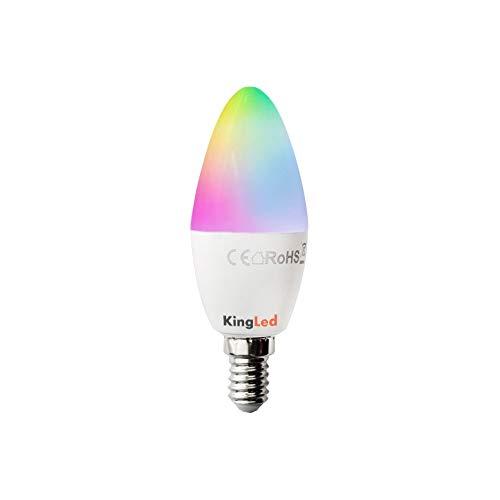 Kingled – Lampadina E14 WiFi – Candela Led C35 Attacco E14 4,5W 380lm RGB+Calda - Smart WiFi Compatibile con Alexa, Google e Smartphone Serie KiWi