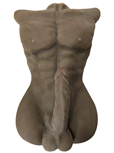 Medical Grade Silicone Sex Doll Silicone Entity Lifelike 7.1 inch Big Penis Men Torso Love Doll for Men Women Masturbation Gay Sex Dolls Couple's Sex Toys (Brown Male, 20.8×13×6)