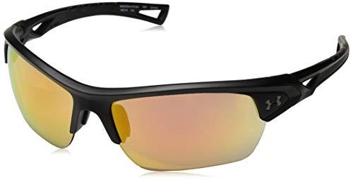 Under Armour Octane Wrap Sunglasses, Satin Black/UA Tuned Baseball with Orange, 68 mm