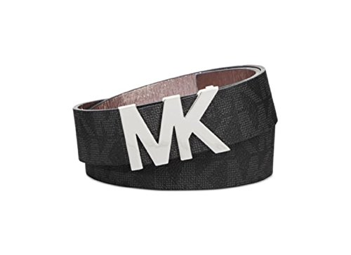 Price comparison product image Michael Kors Womens Signature Belt Black with Silver MK Buckle (Medium)