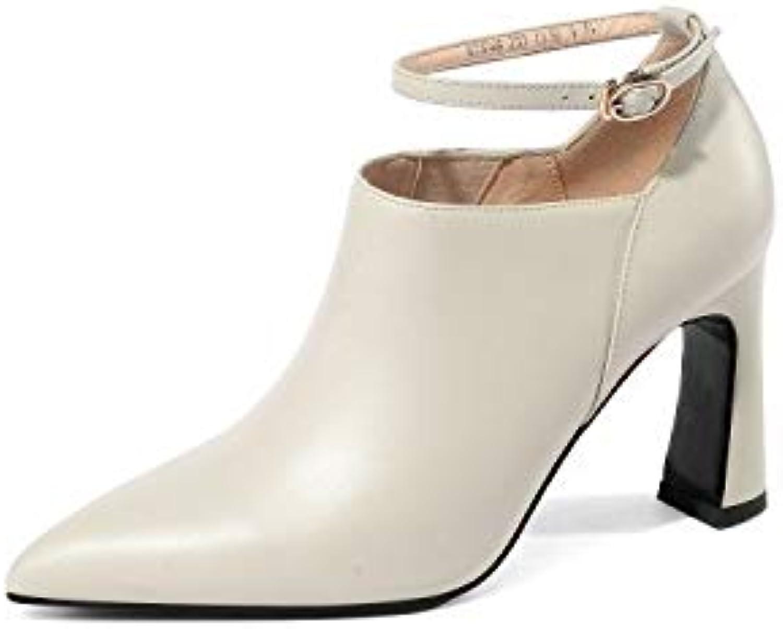 SWEAAY Stiefel Frauen Leder High Heels Und Stiefeletten Bloe Stiefel Dick Mit Spitzen Seitlichem Reiverschluss Volltonfarbe Tgliche Pendler-Arbeitsschuhe